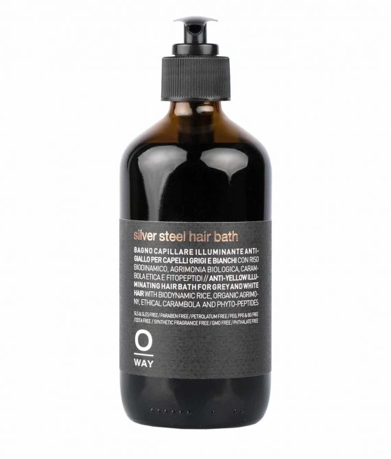 SILVER STEEL HAIR BATH – Kąpiel niwelująca żółte odcienie do włosów siwych 240ml OWAY MEN